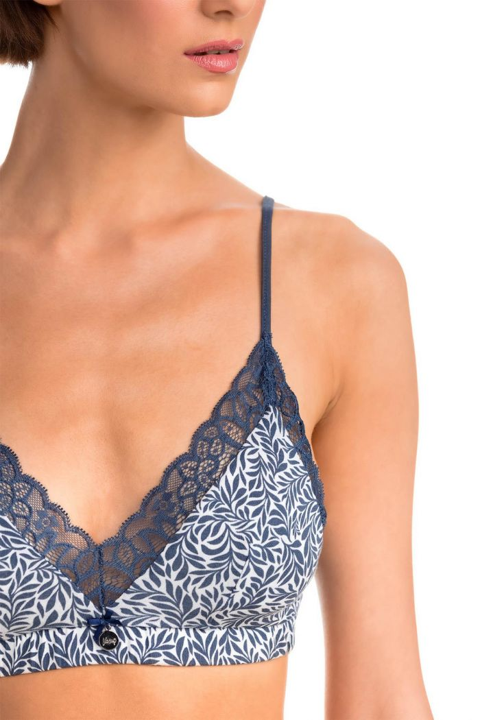 Printed Bralette with Lace Details
