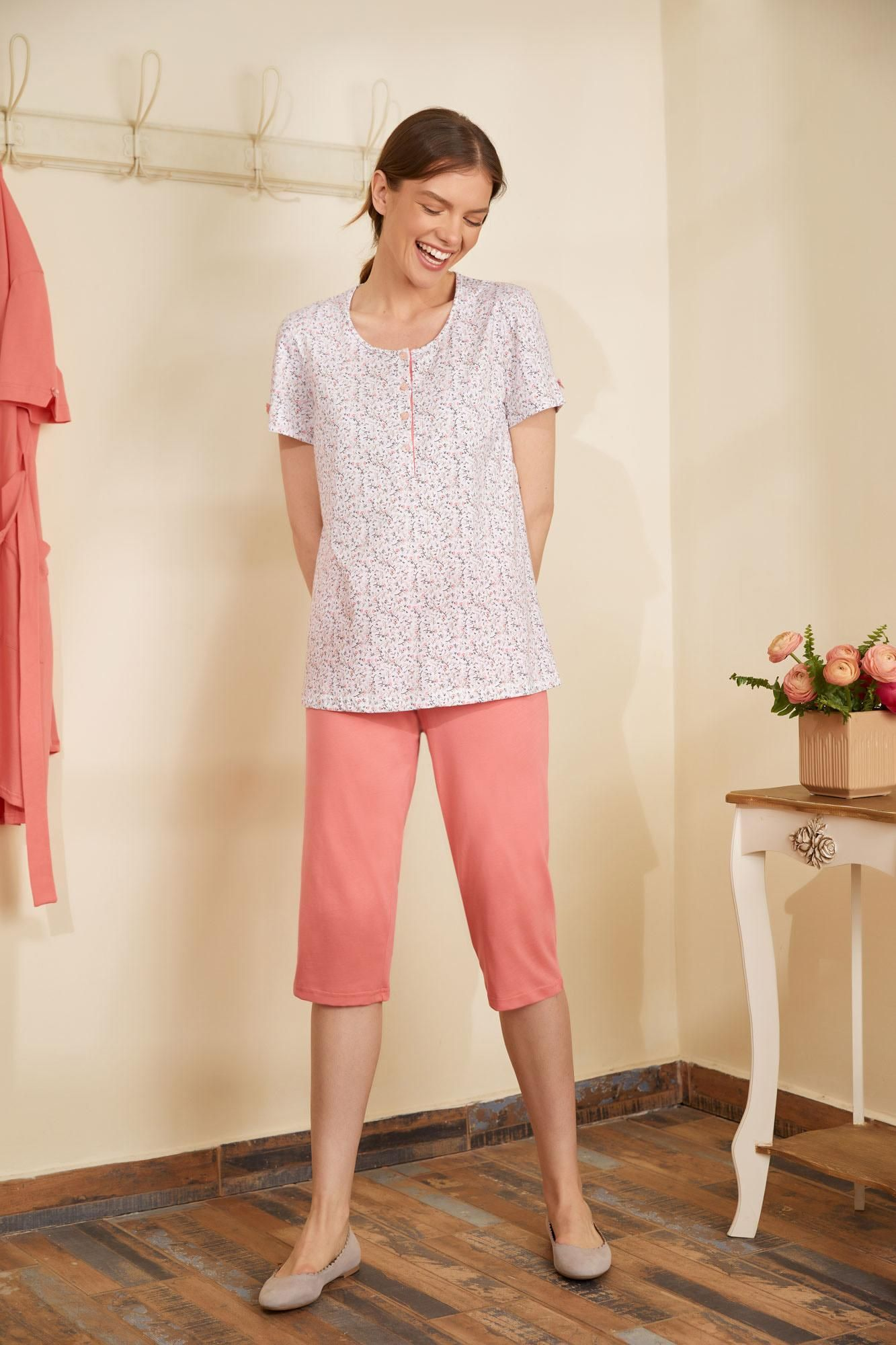 Women's Floral Pyjamas with Buttons