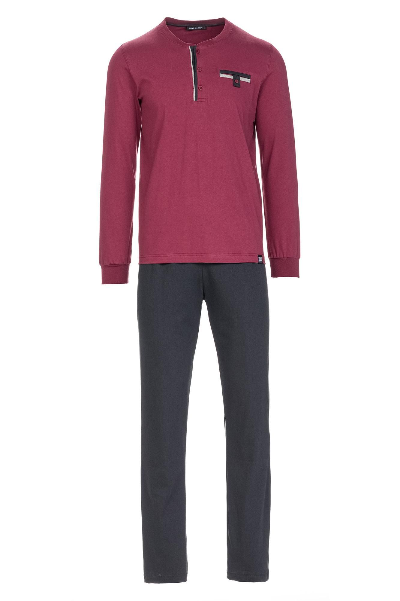 Men's Cotton Pyjamas with Button Placket Plus Size