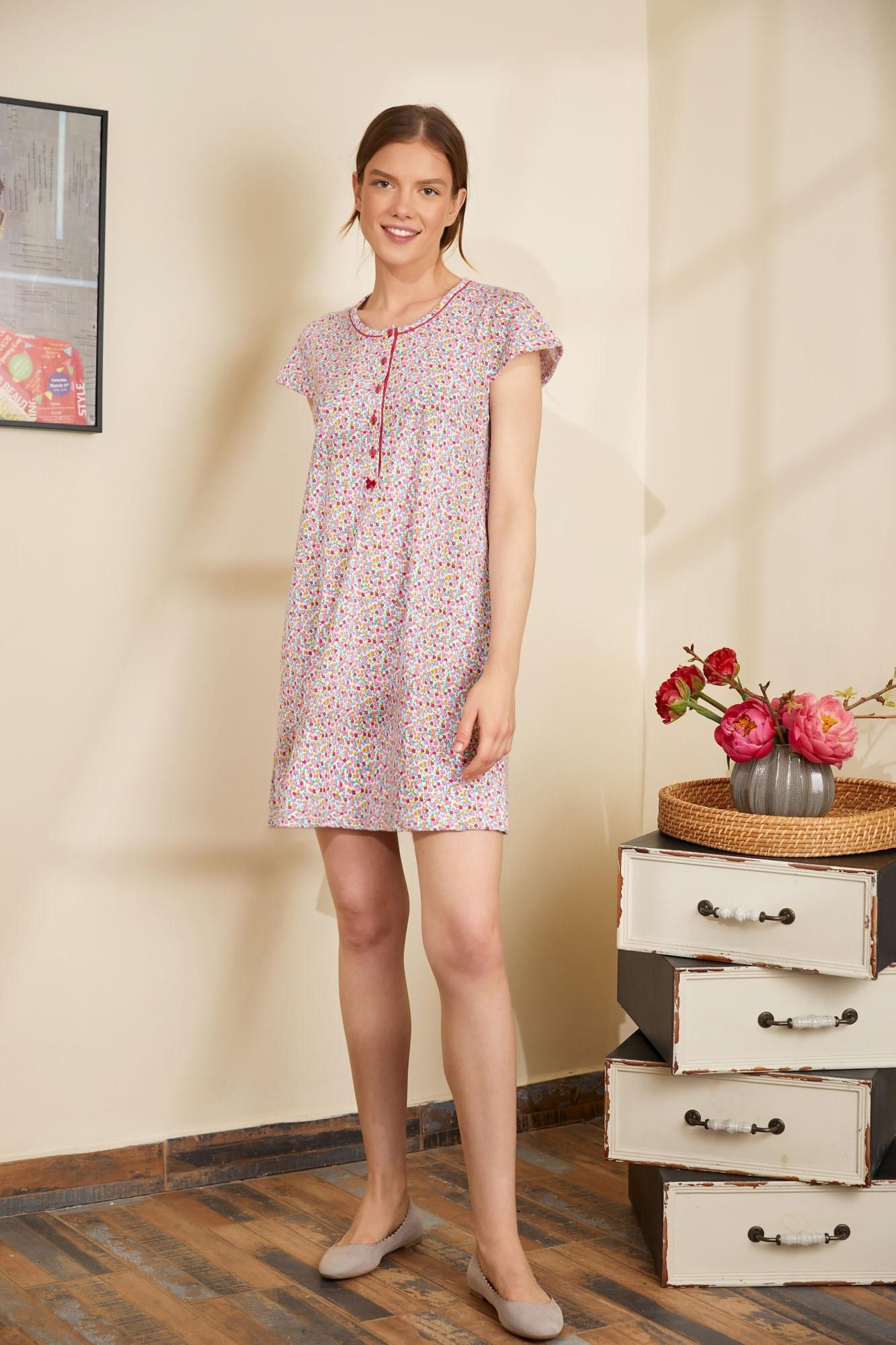 Floral Nightgown with Buttons
