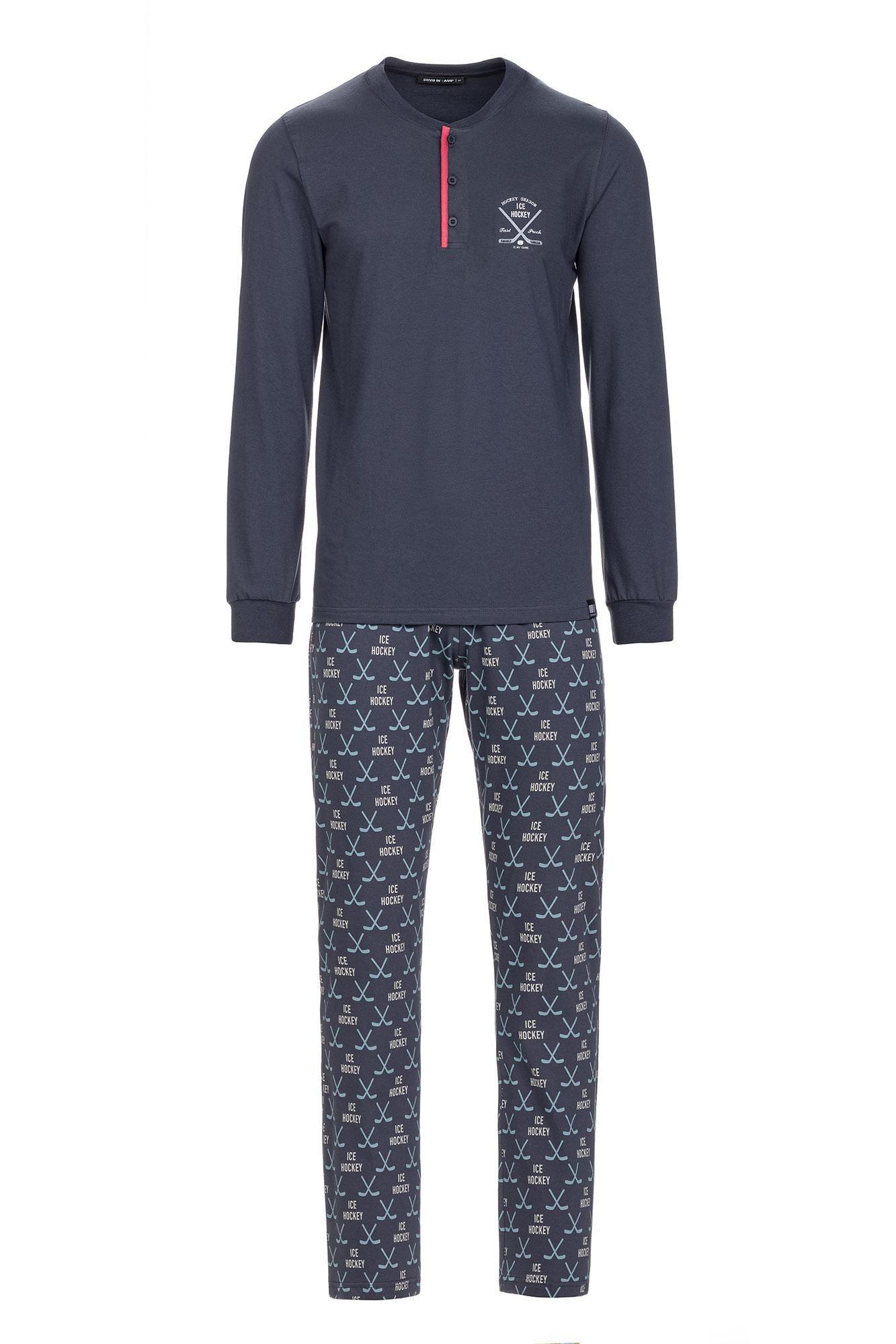 Men's Cotton Pyjamas with Button Placket
