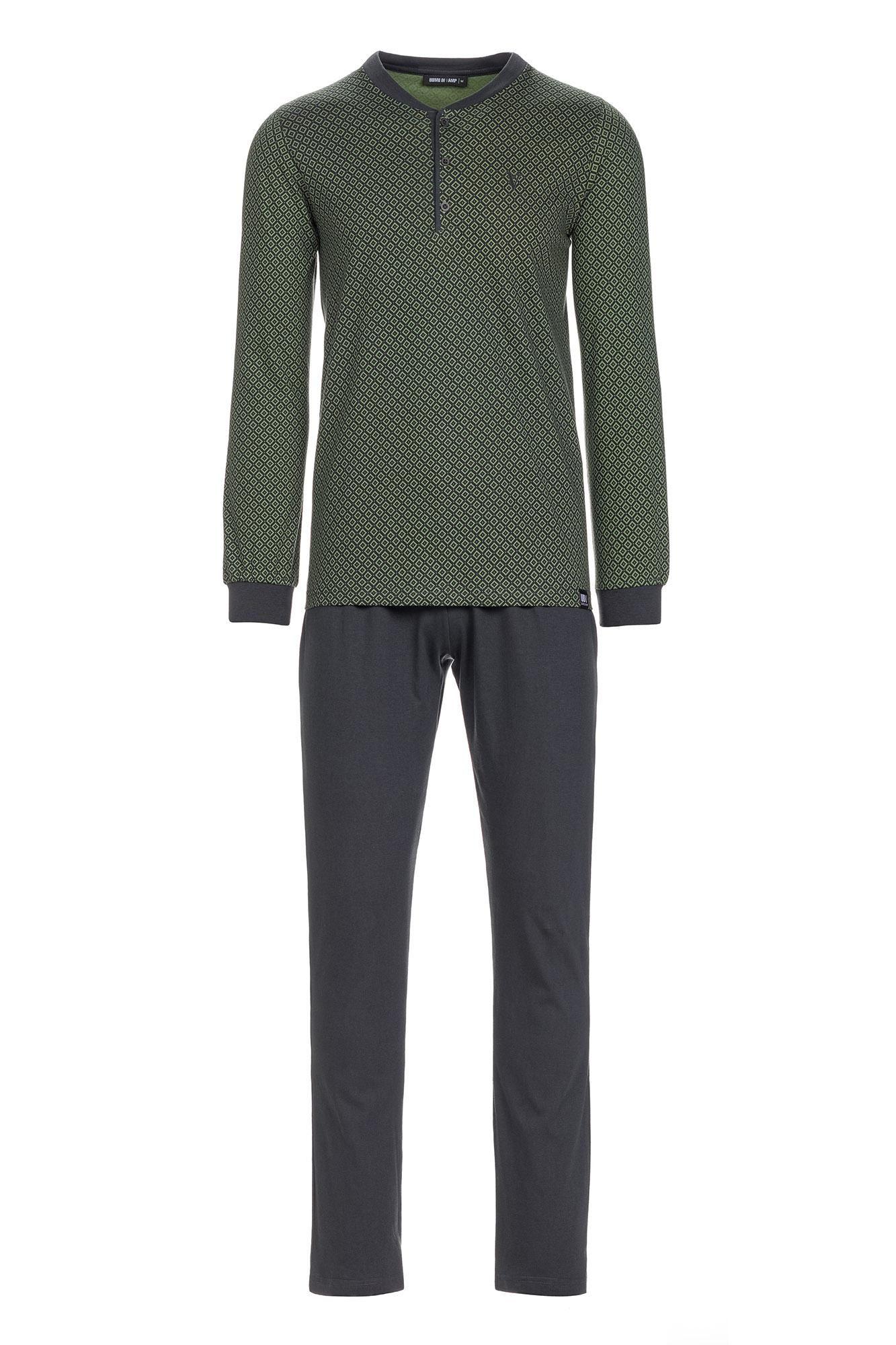 Men's Patterned Pyjamas with Button Placket Plus Size