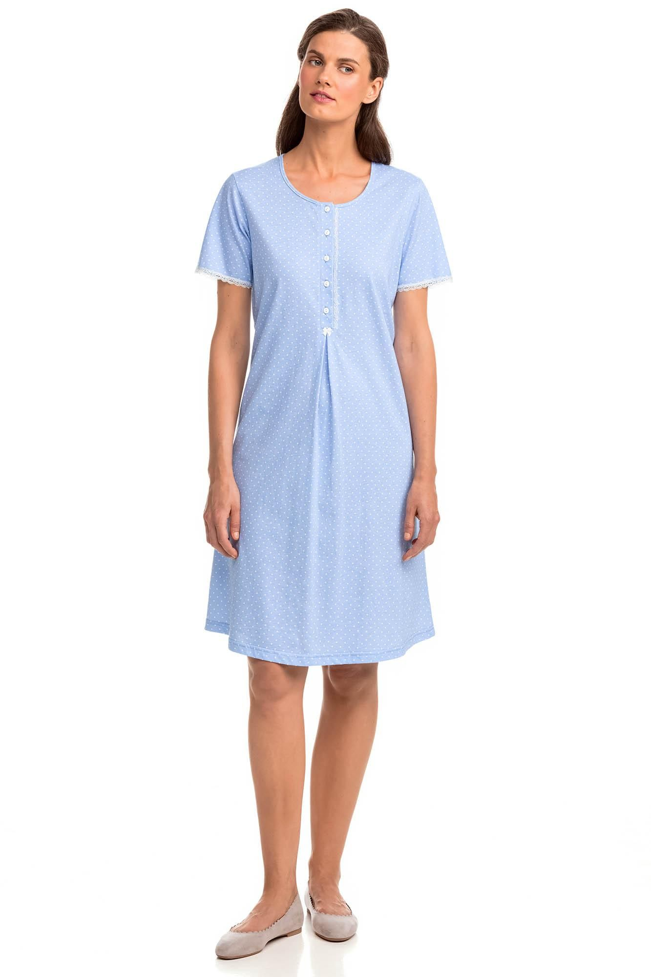 Polka Dot Nightgown with Buttons