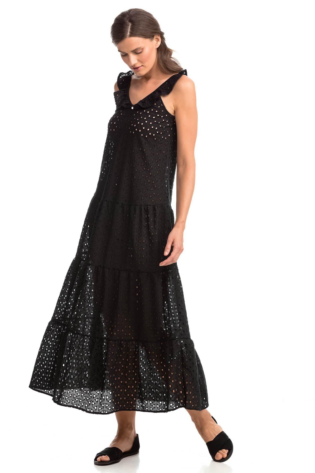 Αμάνικο Μάξι Φόρεμα Ζακάρ