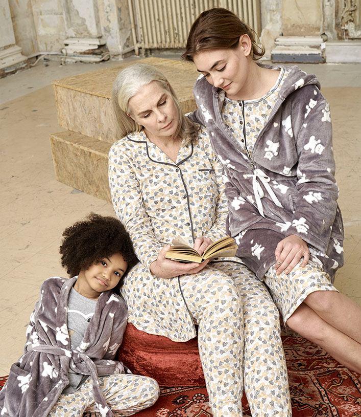 Family in pyjamas